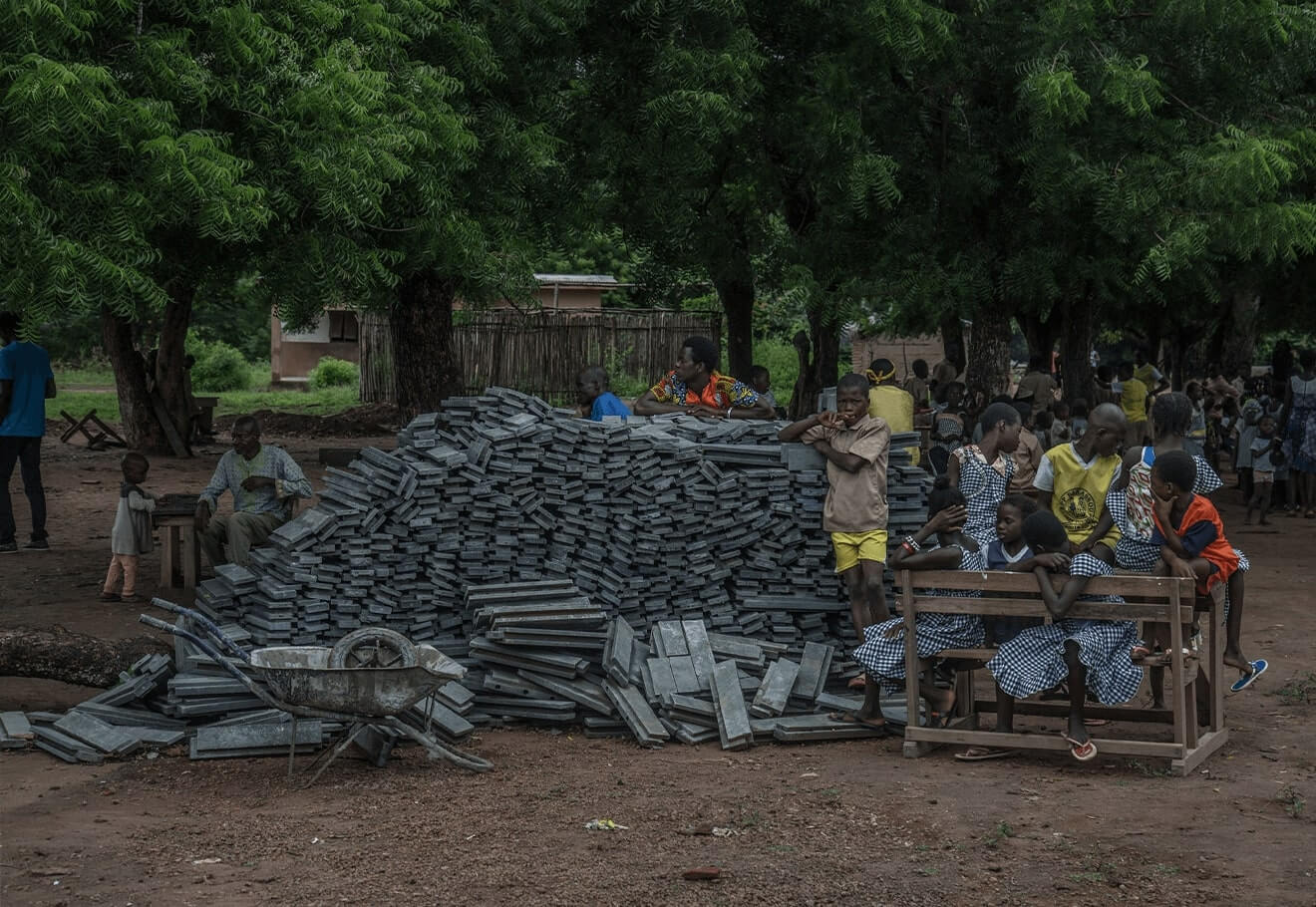 Recycling used plastic into bricks