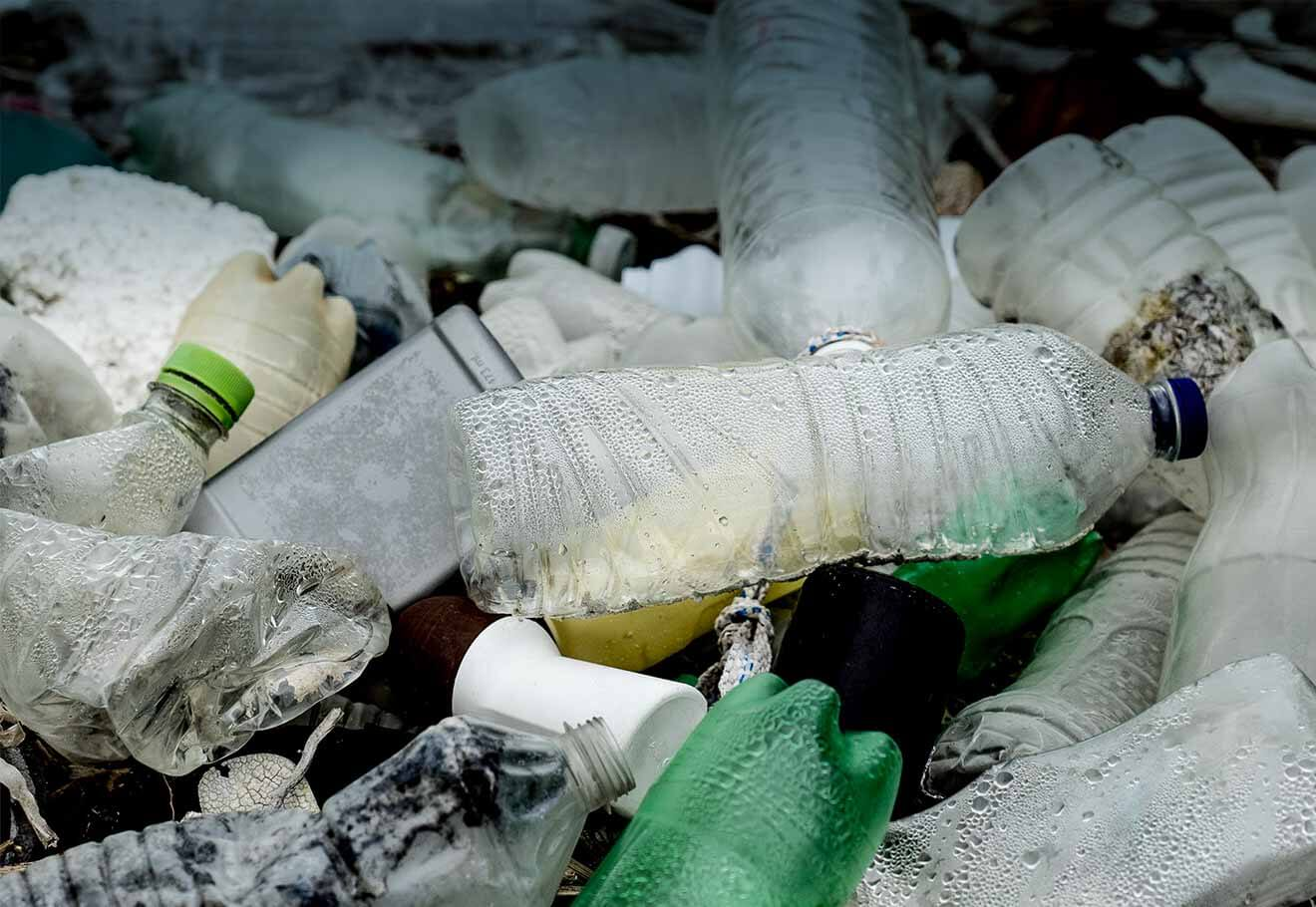 PET bottles washed up on a beach
