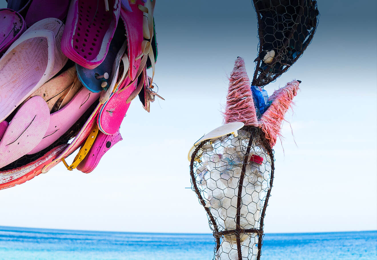 Flamingo art sculpture made using ocean plastic pollution