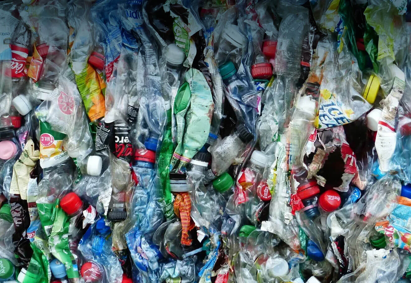 PET Bottles packed together in landfill