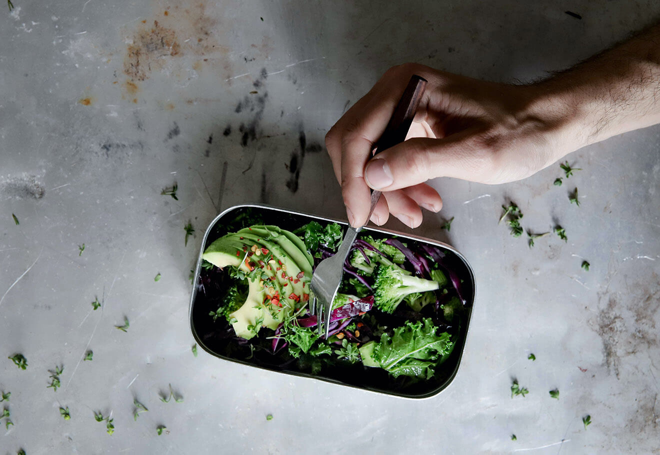 Reusable lunch container for food on the go
