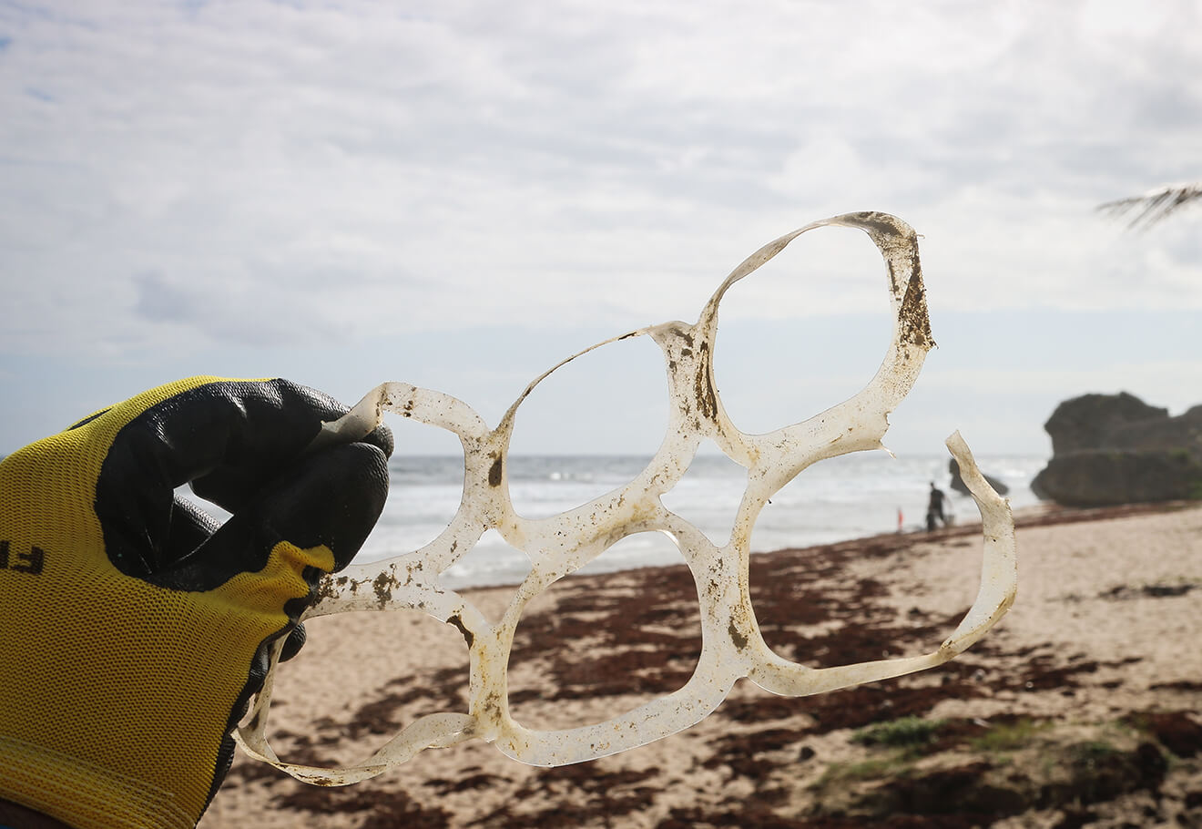 Six pack rings found during beach clean up