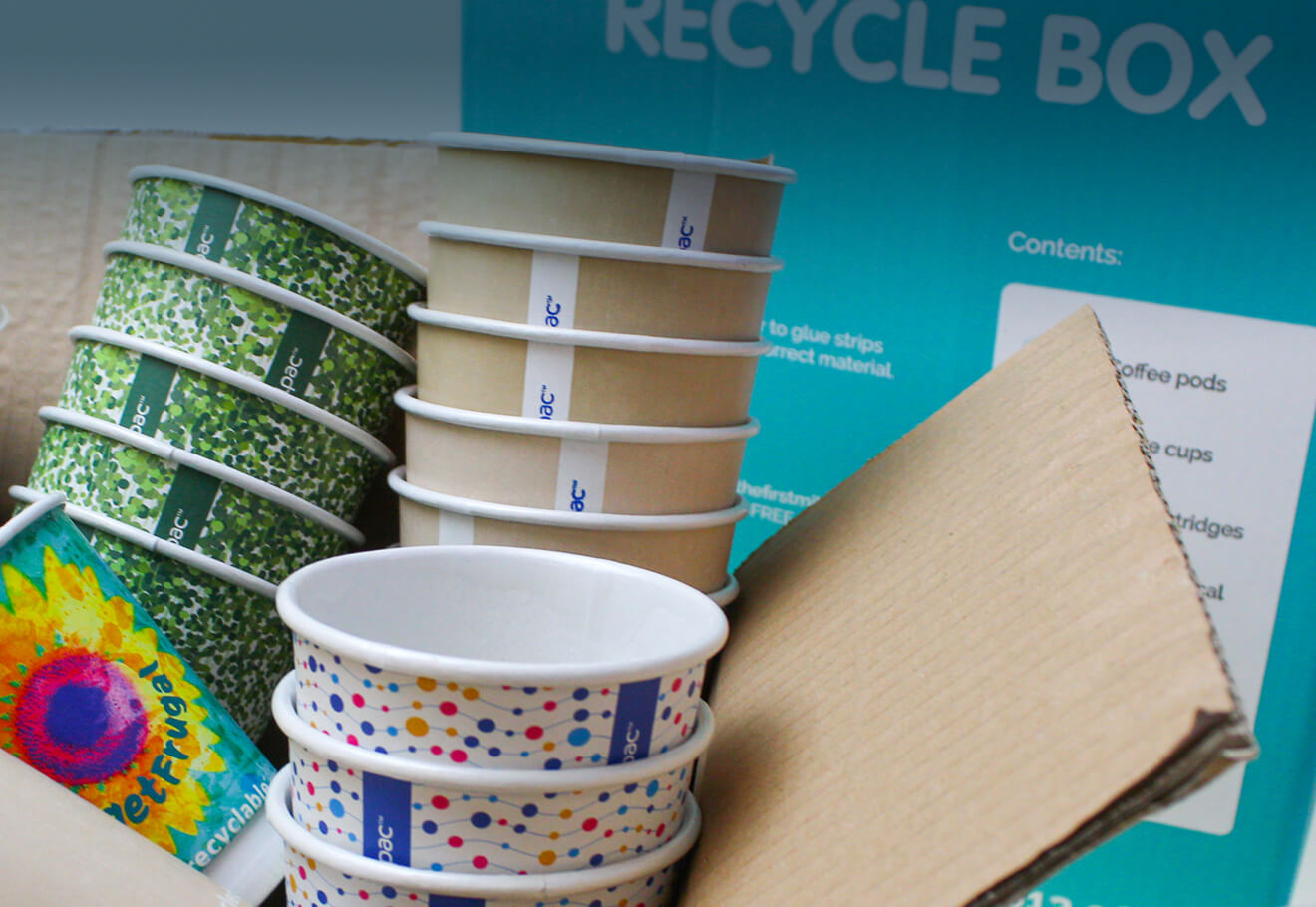 Disposable cups made from recycled Paper