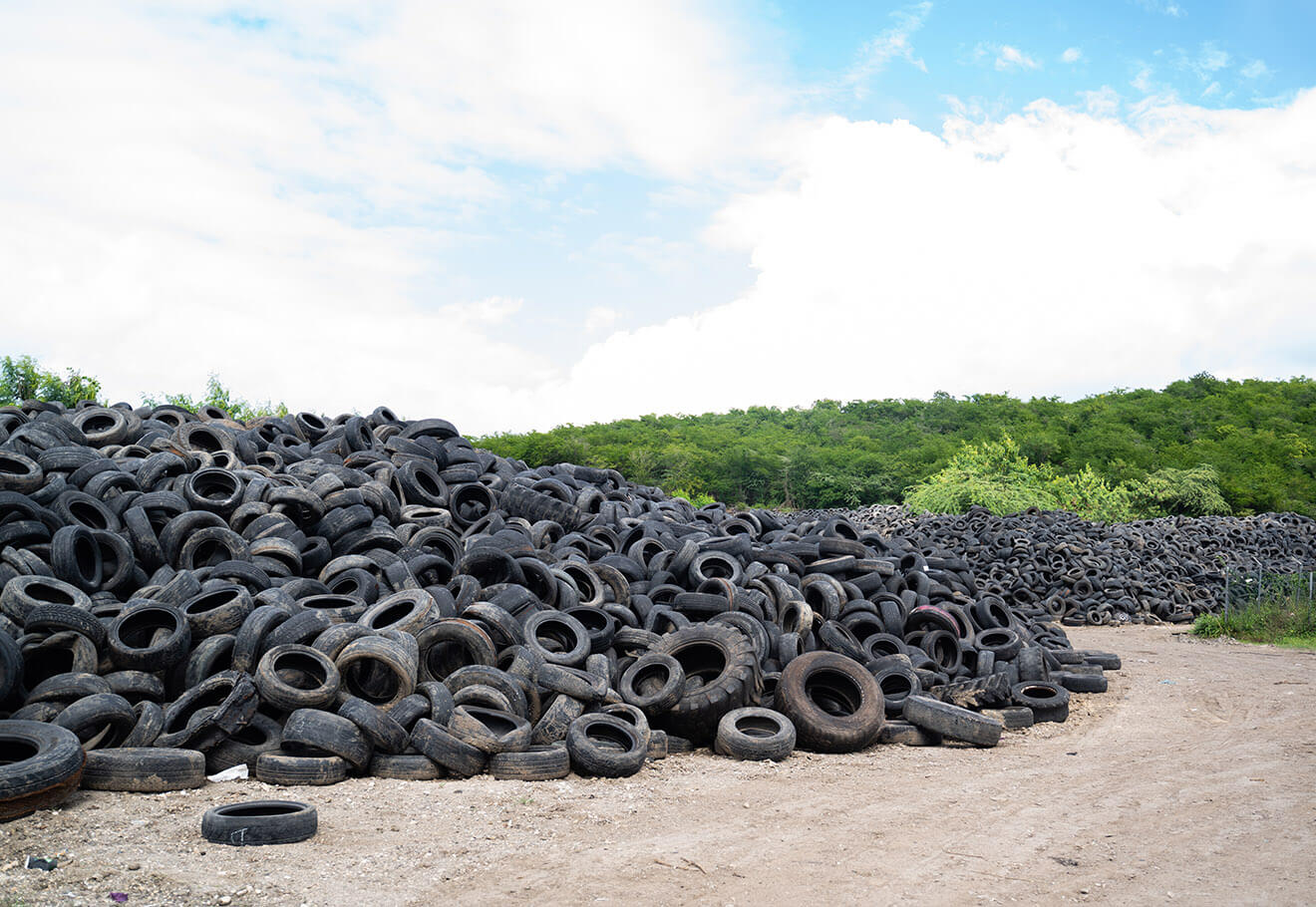 Pile of used tires in landfill