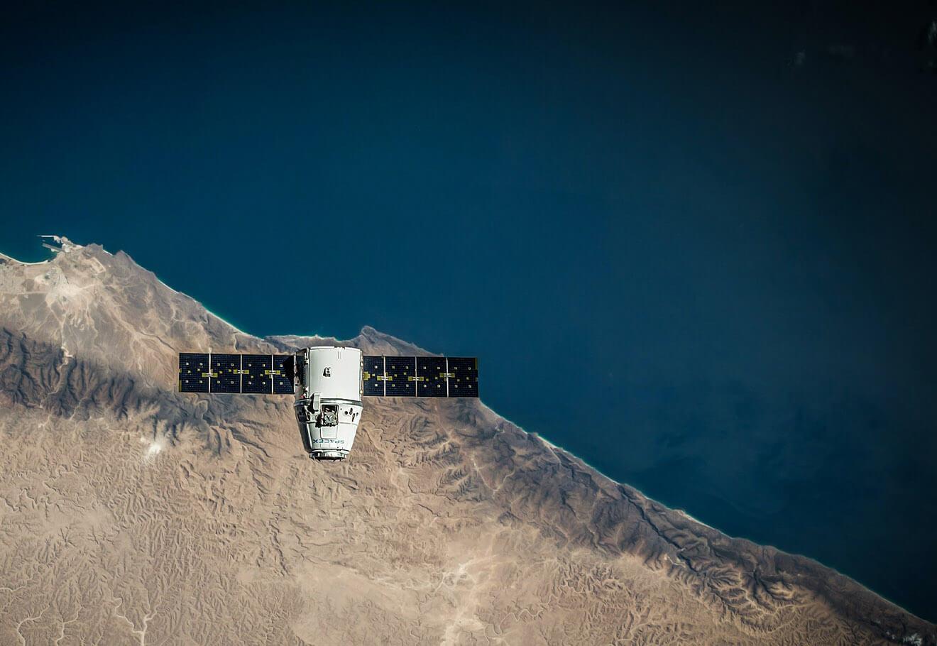 Satelite overlooking ocean