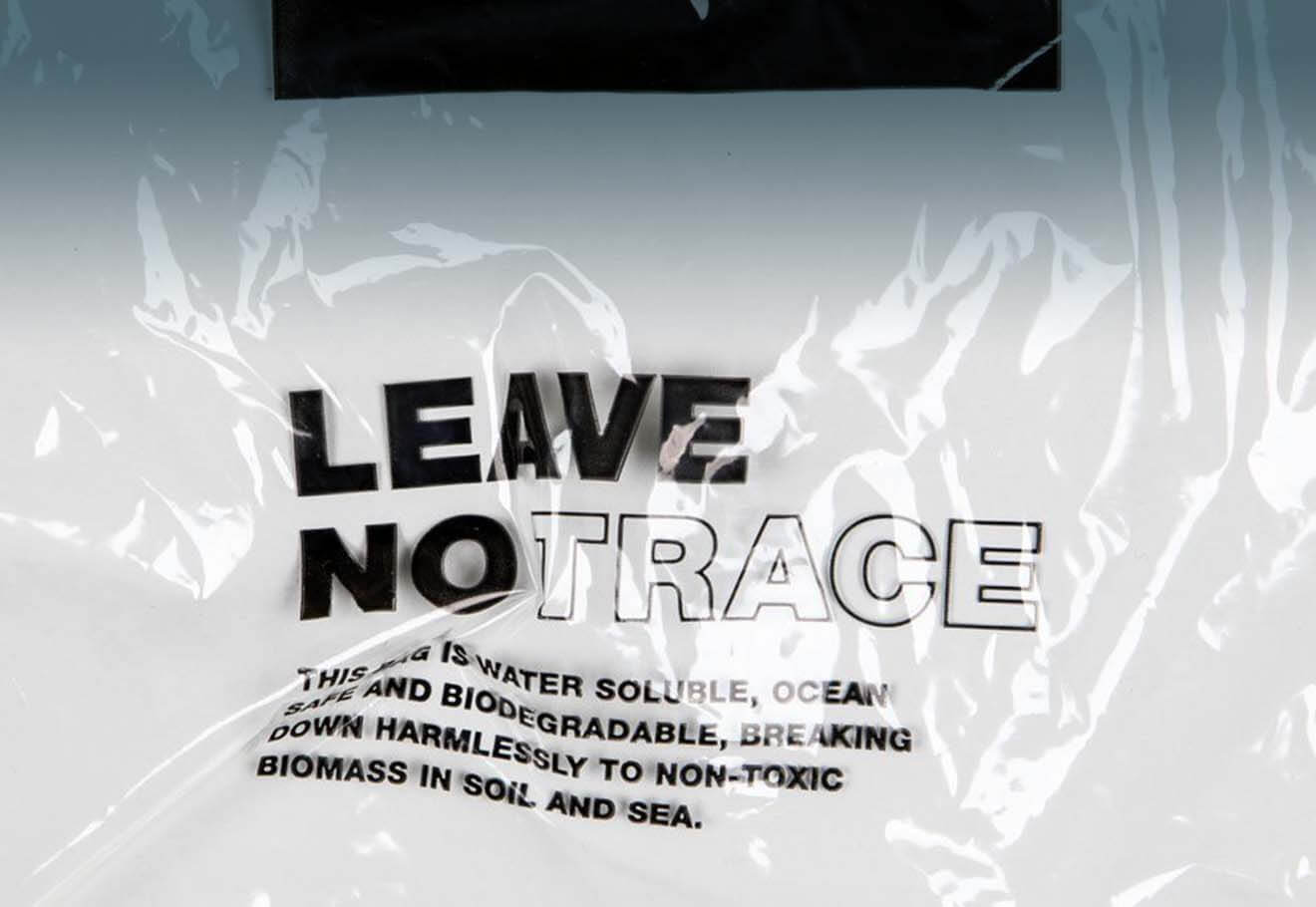 'Leave No Trace' water soluble packaging made by Finisterre and Aquapak