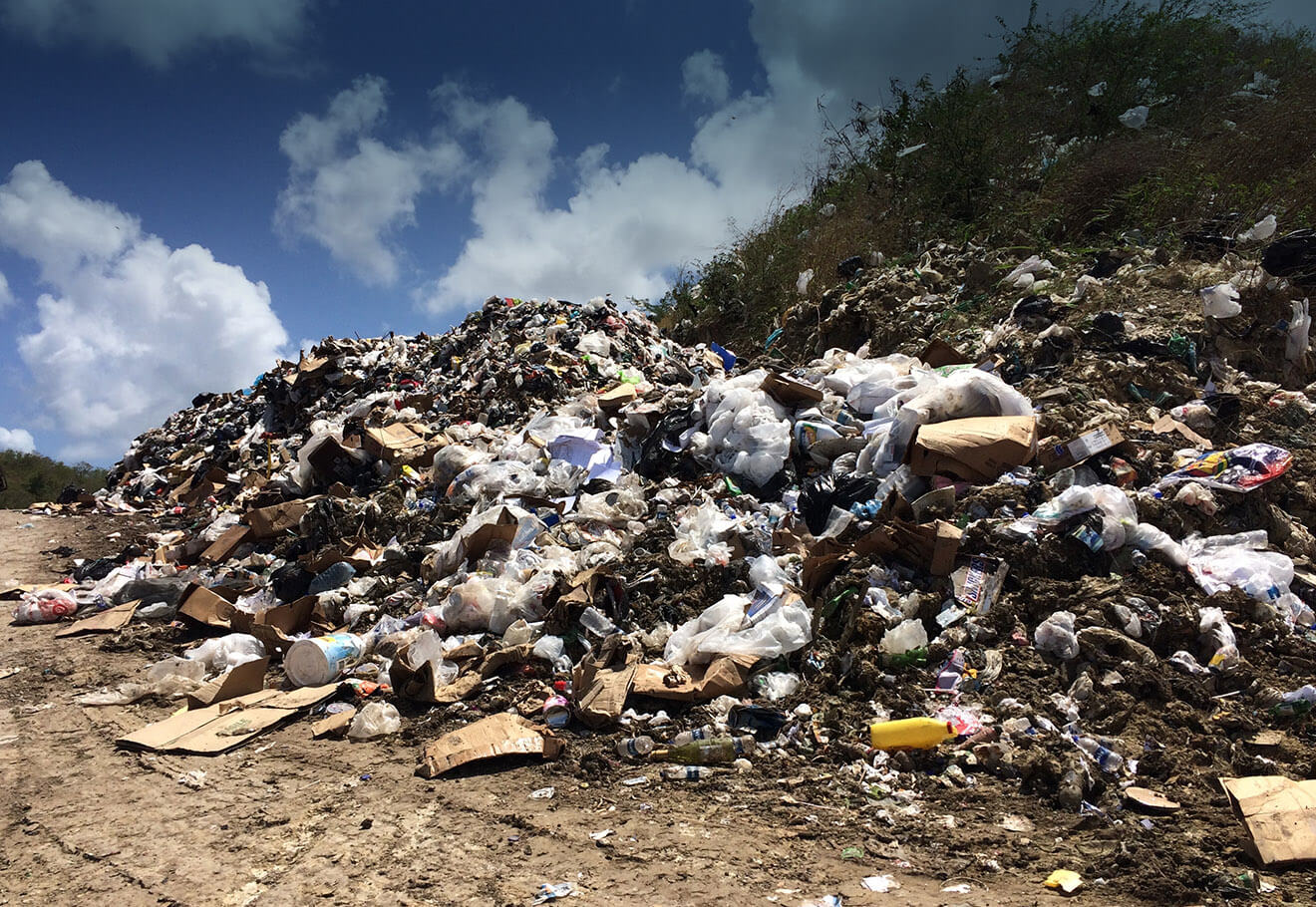 Landfill site in the Caribbean