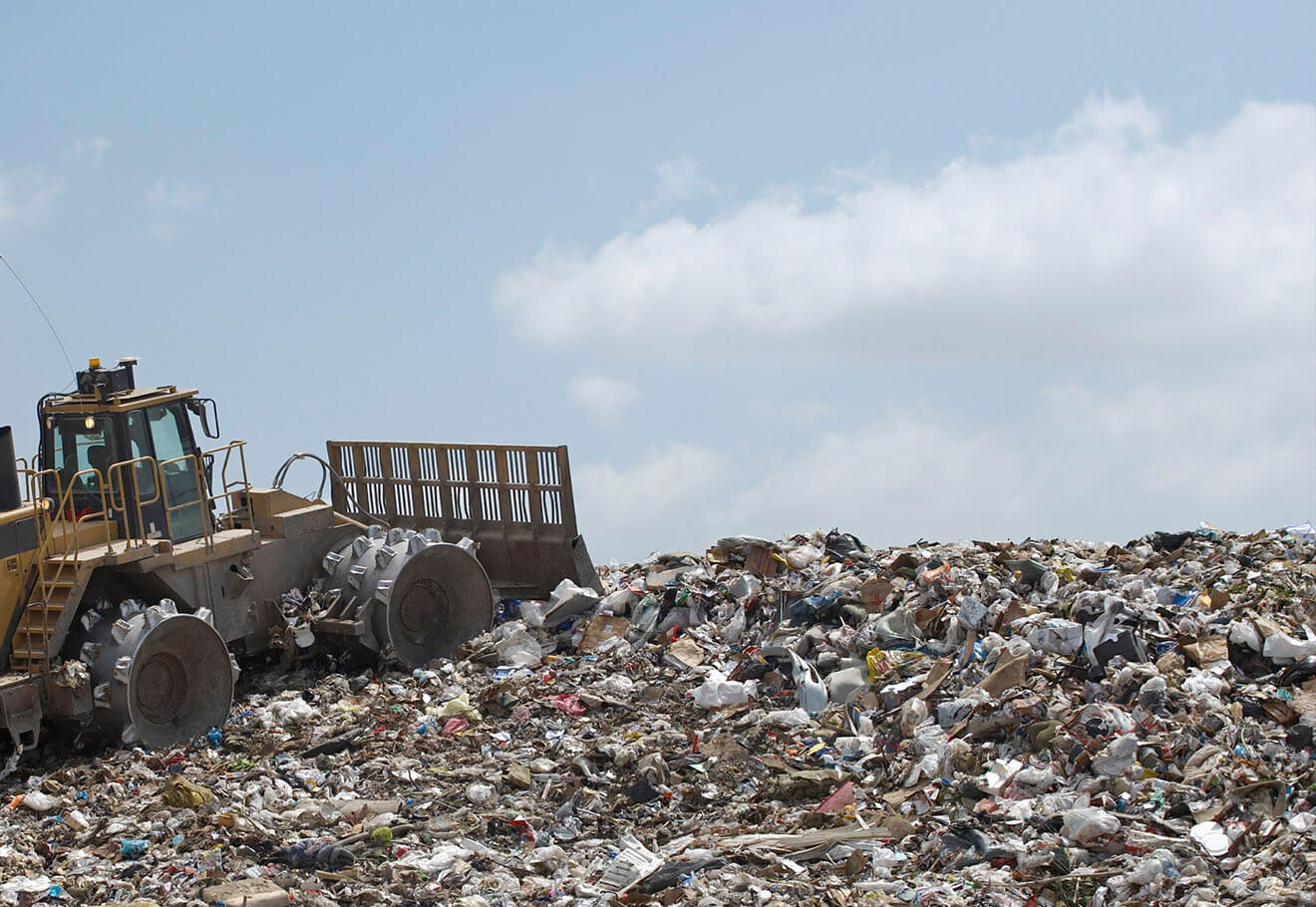 Landfill overflowing with plastic waste