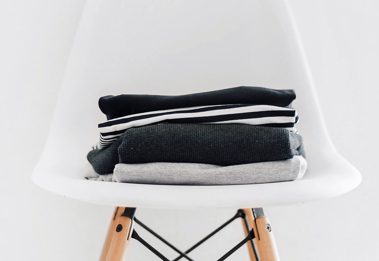 Folded clothes on a chair