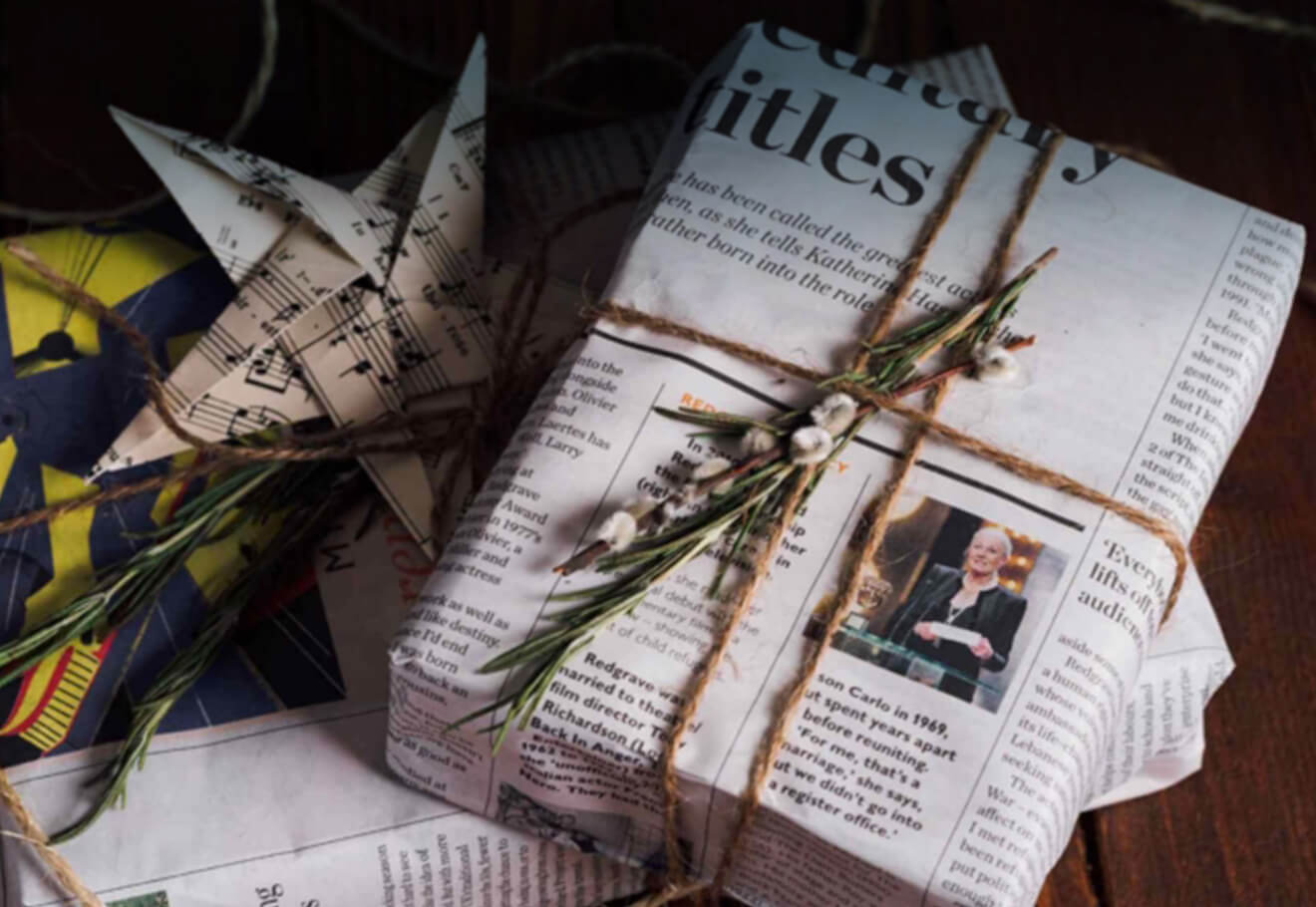 Gift wrapped in newspaper