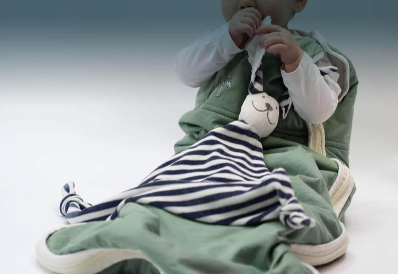 Baby using a bamboo sleeping bag