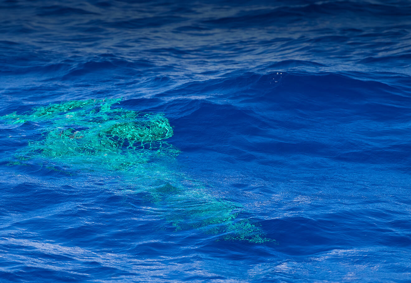 Fishing net in the middle of the ocean